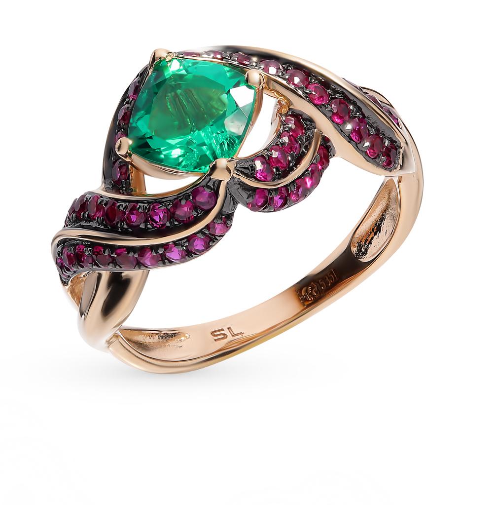 золотое кольцо с рубинами и изумрудами