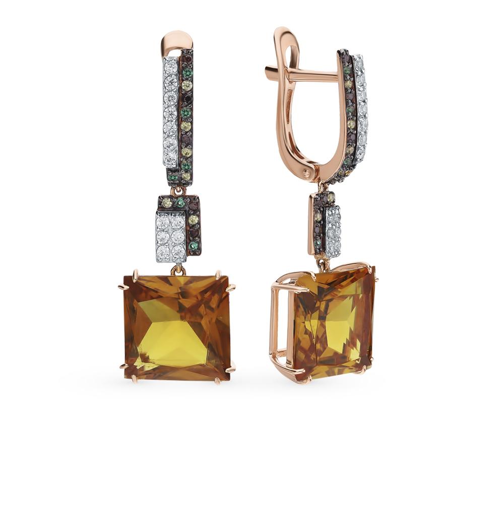 Фото «Золотые серьги с султанитами, со шпинелью, фианитами и цитринами»