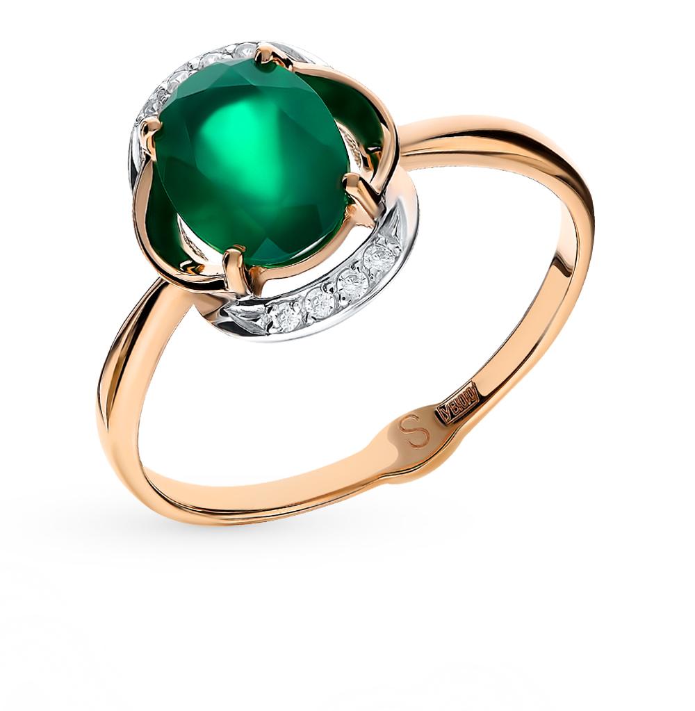 золотое кольцо с фианитами и агатом SOKOLOV 715218*