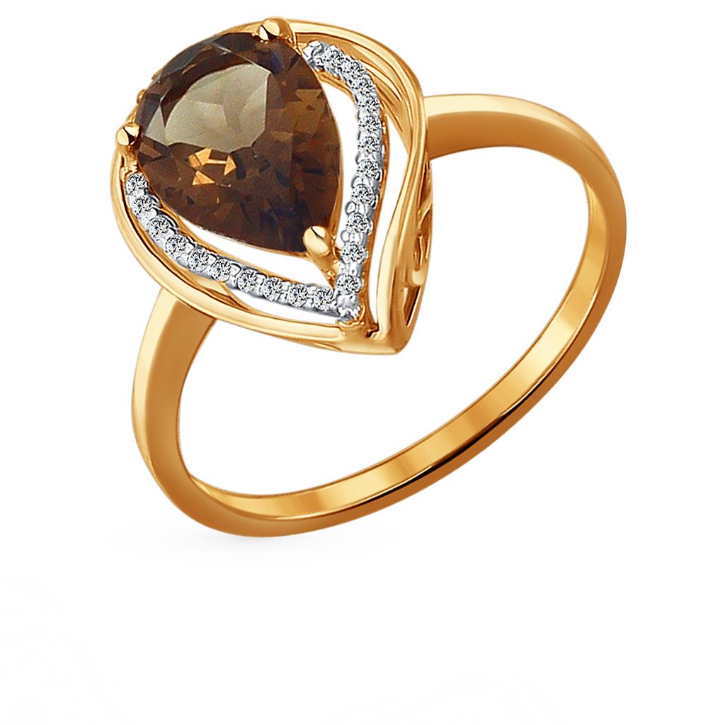 Фото «Золотое кольцо с раухтопазами и фианитами SOKOLOV 713931*»