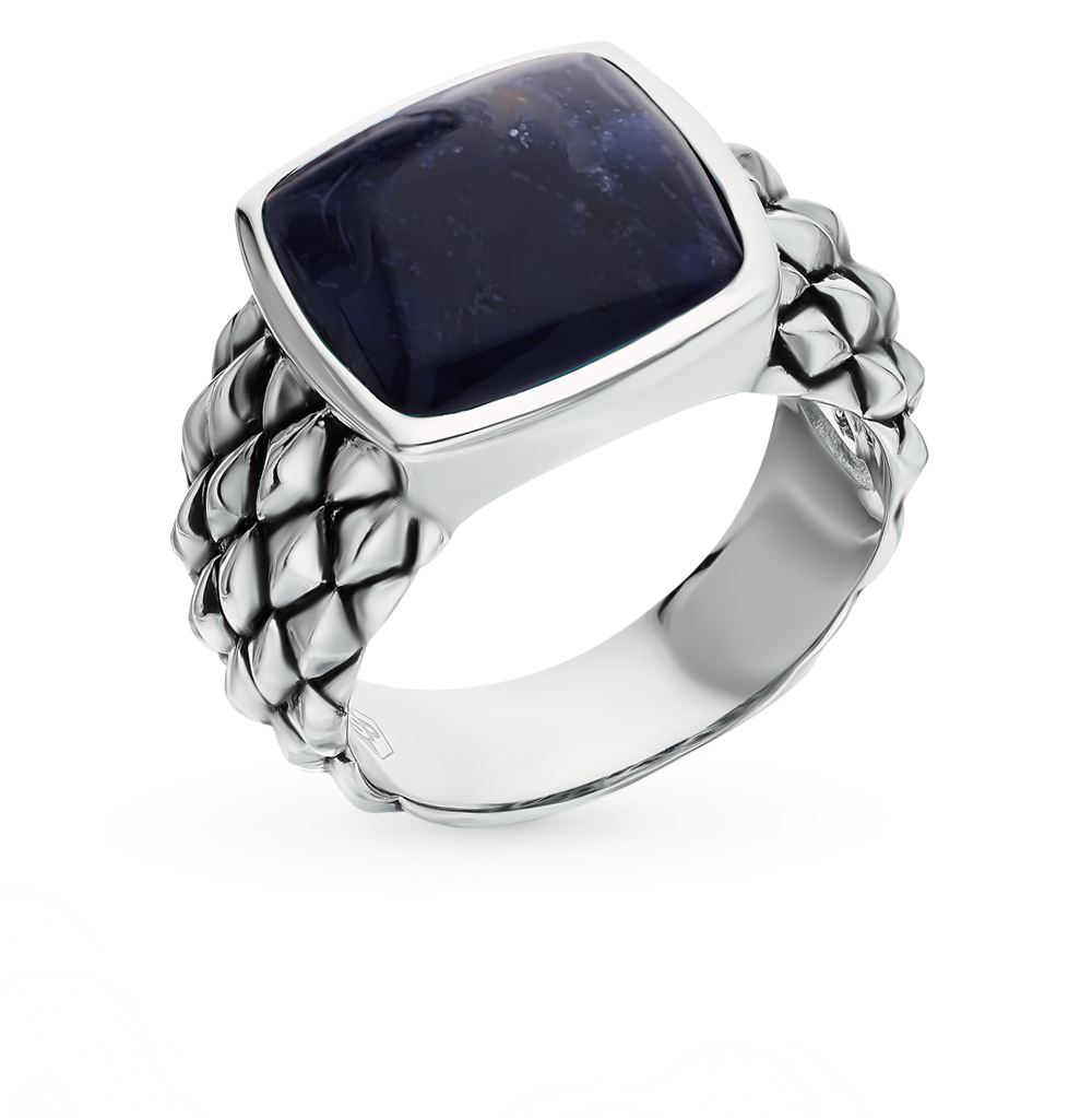 серебряное кольцо содалитами