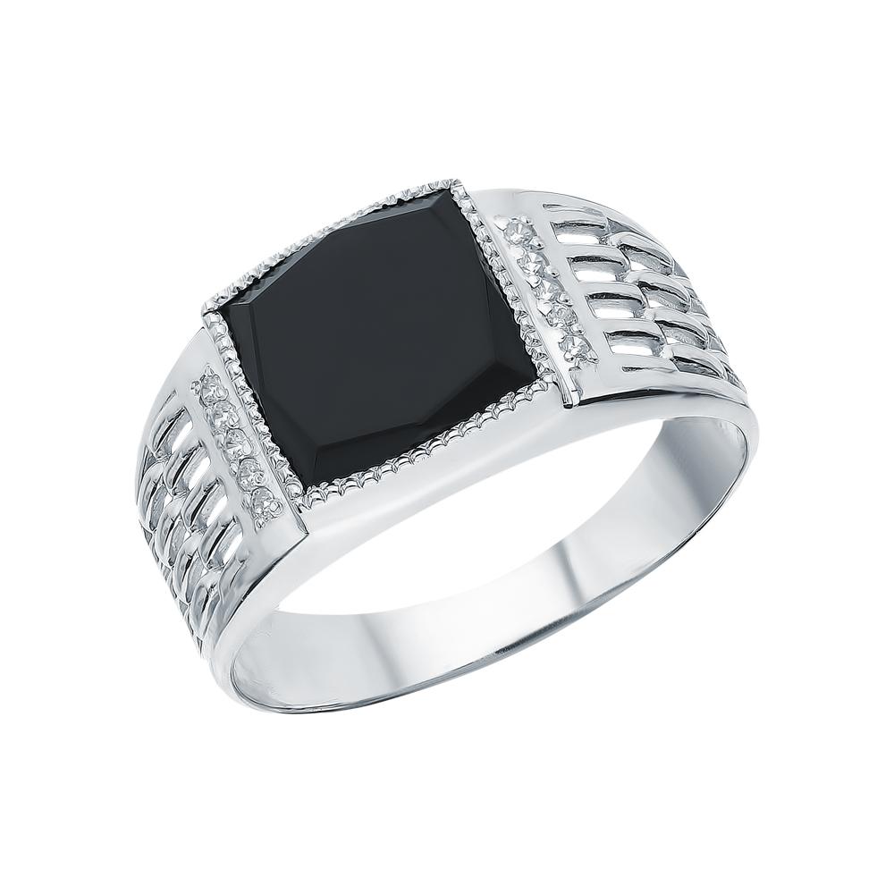 Серебряное кольцо с фианитами и агатом в Санкт-Петербурге