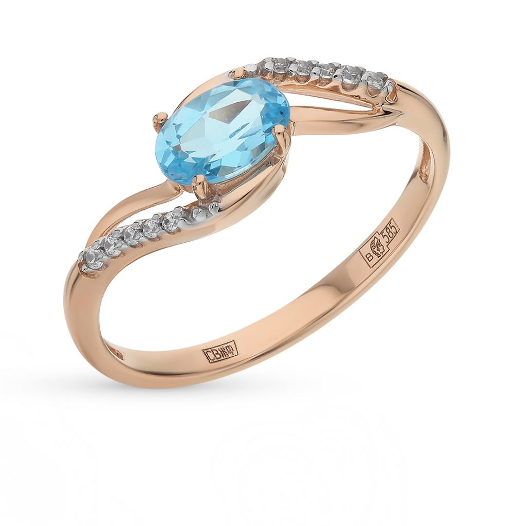 Фото «Золотое кольцо с топазами и фианитами SOKOLOV 714121*»