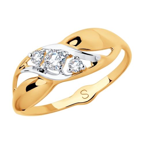 Фото «Золотое кольцо с фианитами SOKOLOV 018070*»