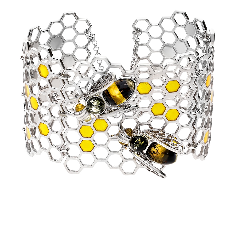 серебряный браслет с янтарем