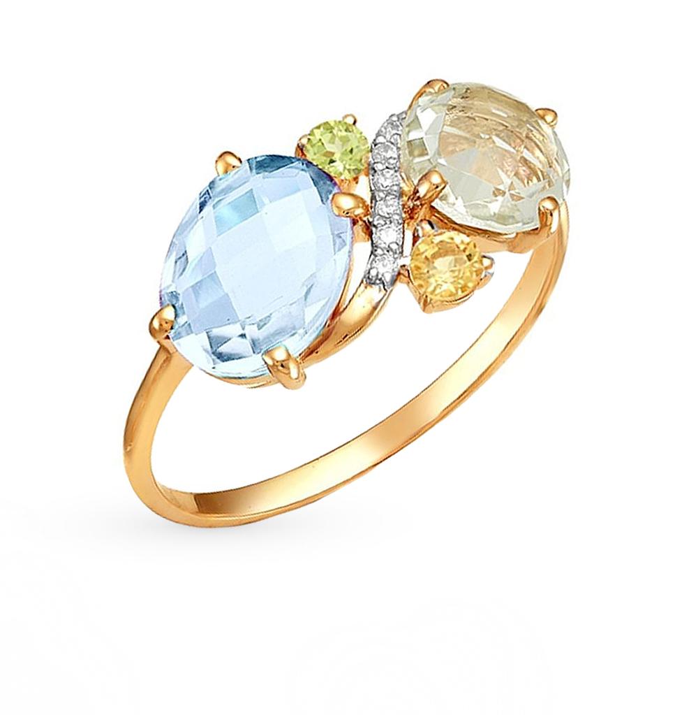 Фото «золотое кольцо с аметистом, цитринами, топазами и хризолитом»
