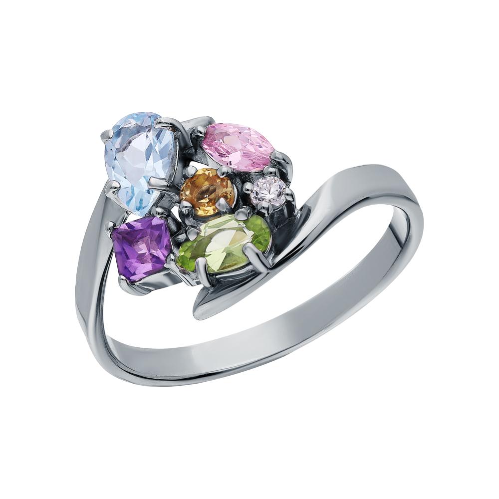 Серебряное кольцо с хризолитом, аметистом, морганитами, топазами, фианитами и цитринами в Екатеринбурге
