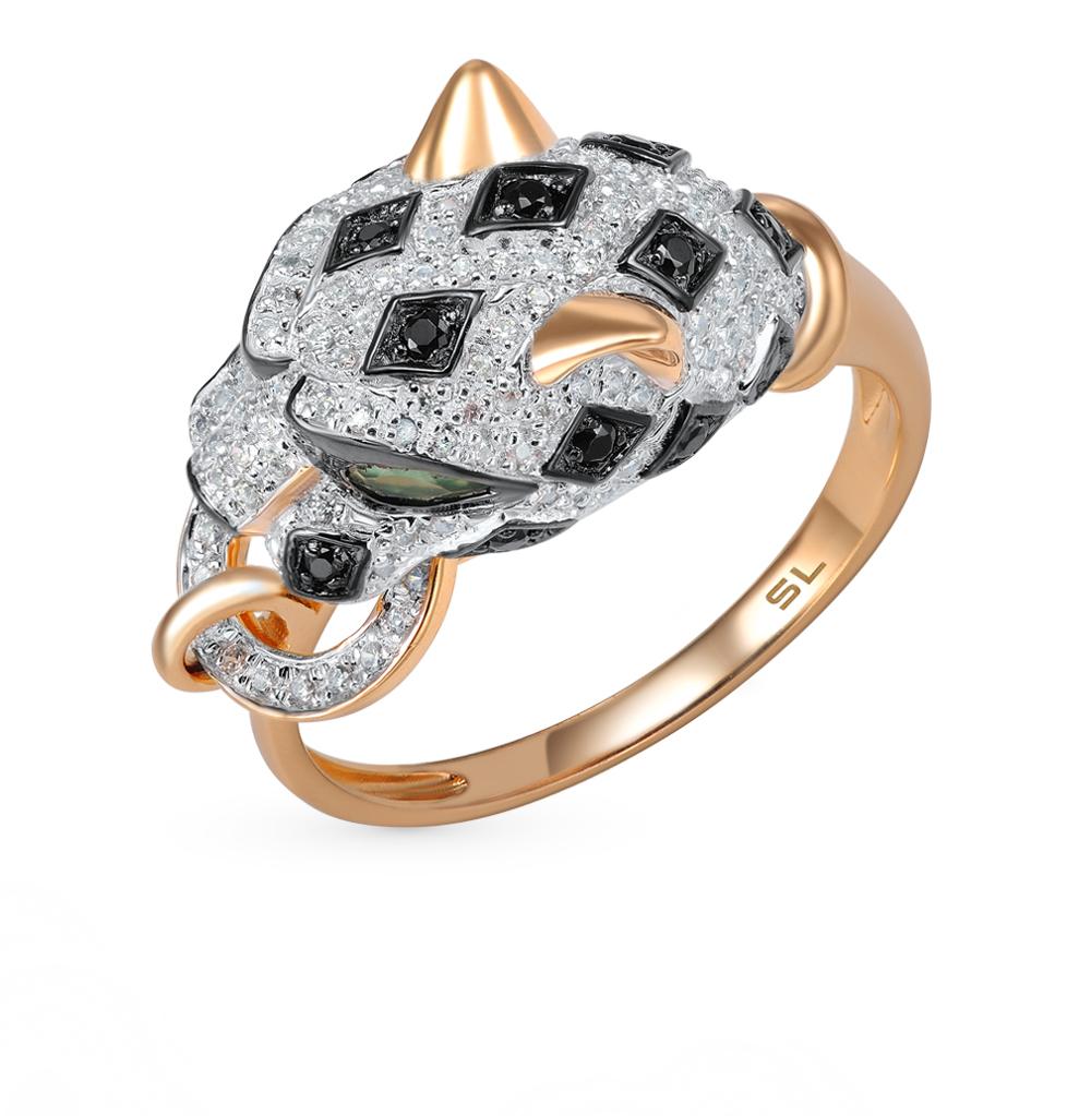 Фото «золото кольцо с чёрными бриллиантами, со шпинелью и бриллиантами»