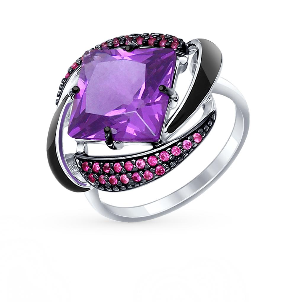 Фото «Серебряное кольцо с наноситалами, фианитами и эмалью SOKOLOV 92011301»