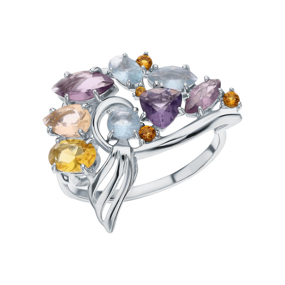 Фото «Серебряное кольцо с морганитами, фианитами, цитринами синтетическими, топазами имитациями и аметистами синтетическими»