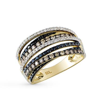 Фото «золотое кольцо с чёрными и коньячными бриллиантами и бриллиантами»
