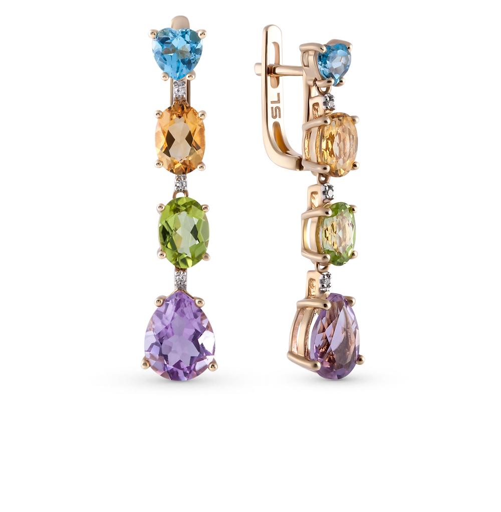 Фото «золотые серьги с аметистом, цитринами, топазами, хризолитом и бриллиантами»