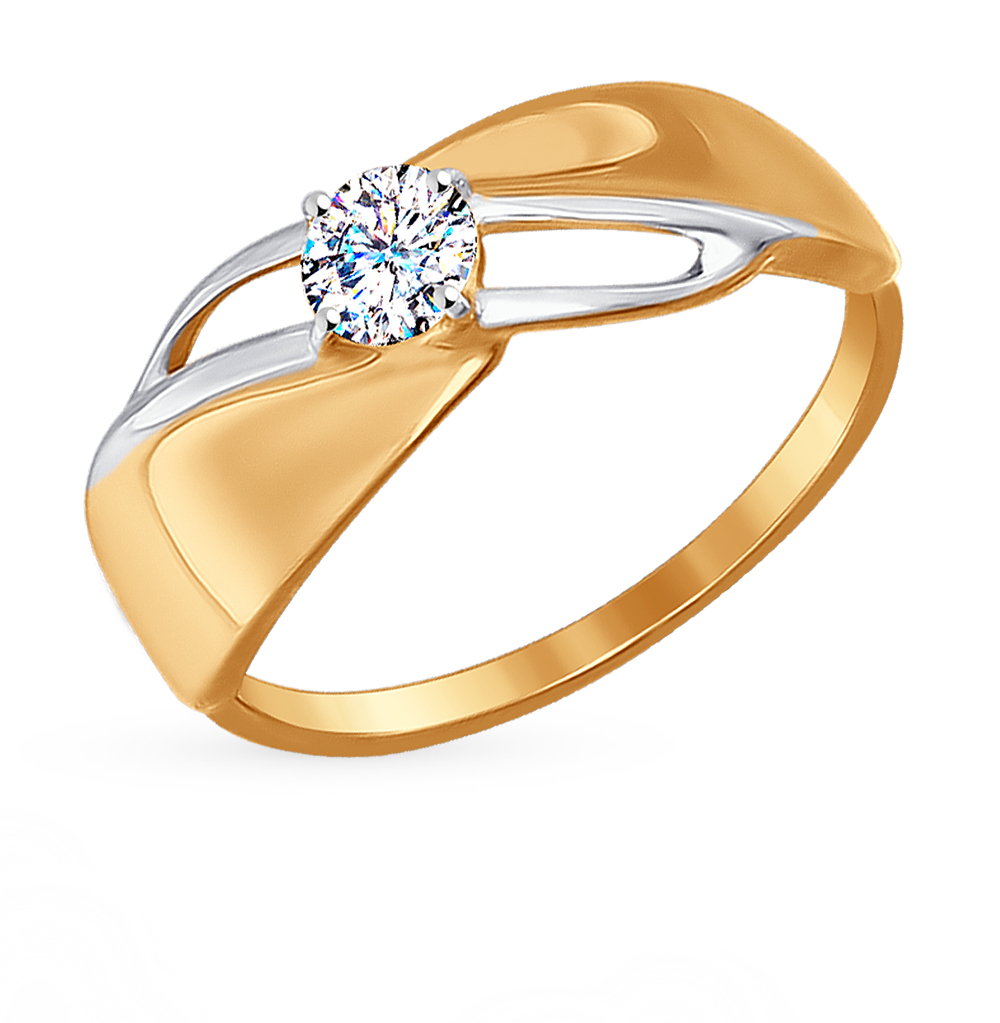 золотое кольцо с фианитами SOKOLOV 017187*