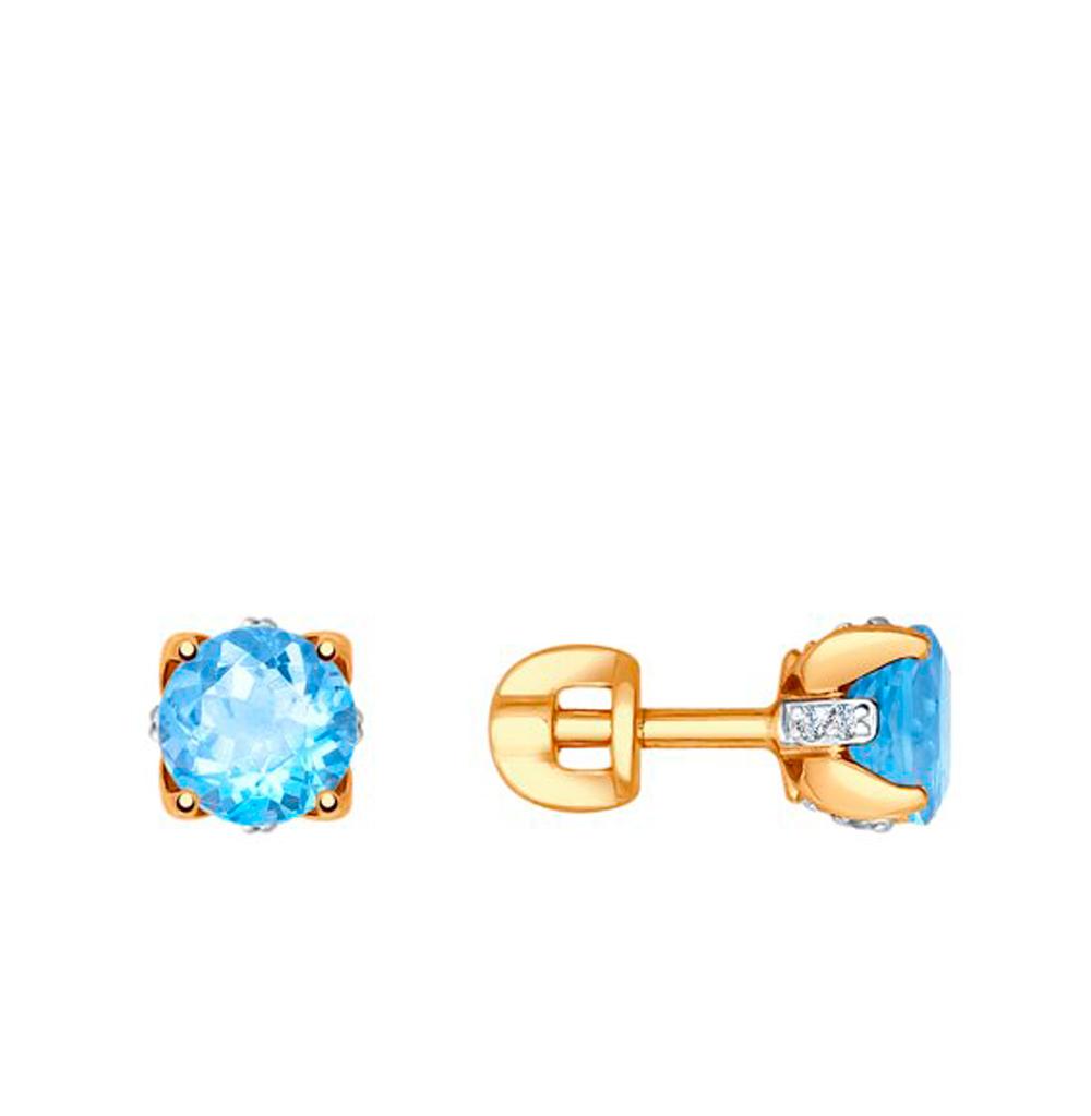 Фото «Золотые серьги с топазами и фианитами SOKOLOV 725197»