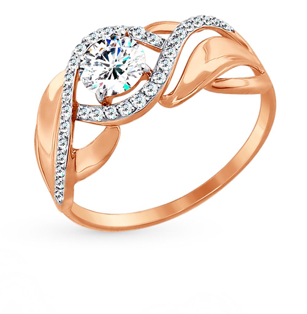золотое кольцо с фианитами SOKOLOV 017424*
