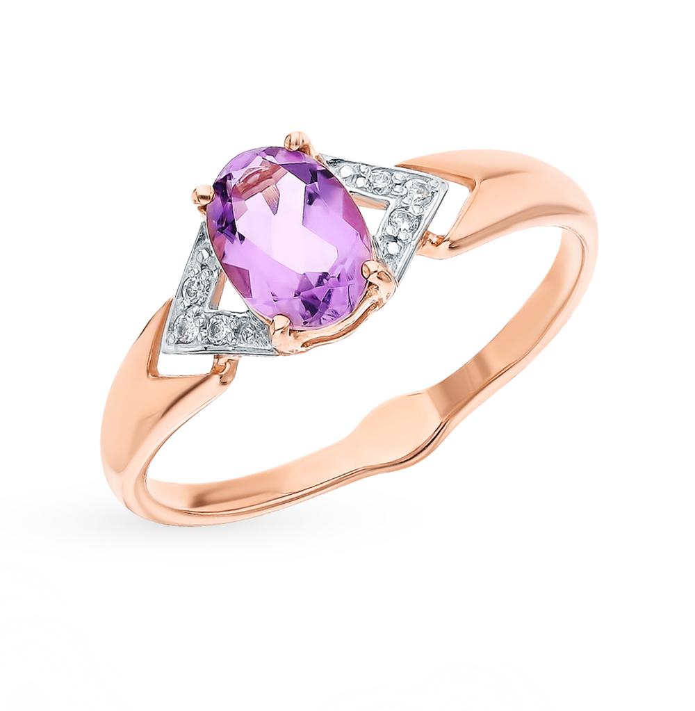 Фото «Золотое кольцо с аметистом и фианитами SOKOLOV 715506»