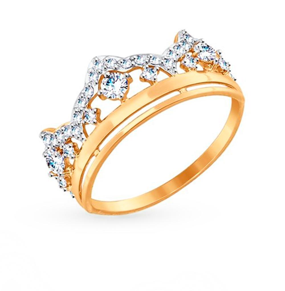 золотое кольцо с фианитами SOKOLOV 017422