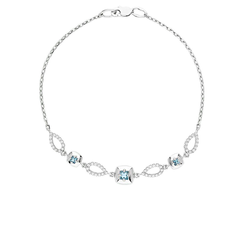 серебряный браслет с топазами и фианитами SOKOLOV 92050100