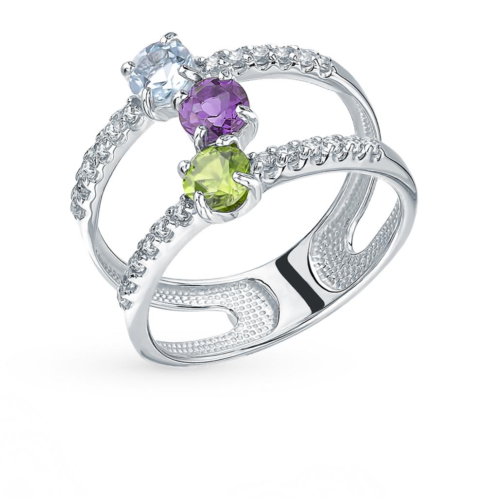 серебряное кольцо с хризолитом, аметистом, топазами и фианитами