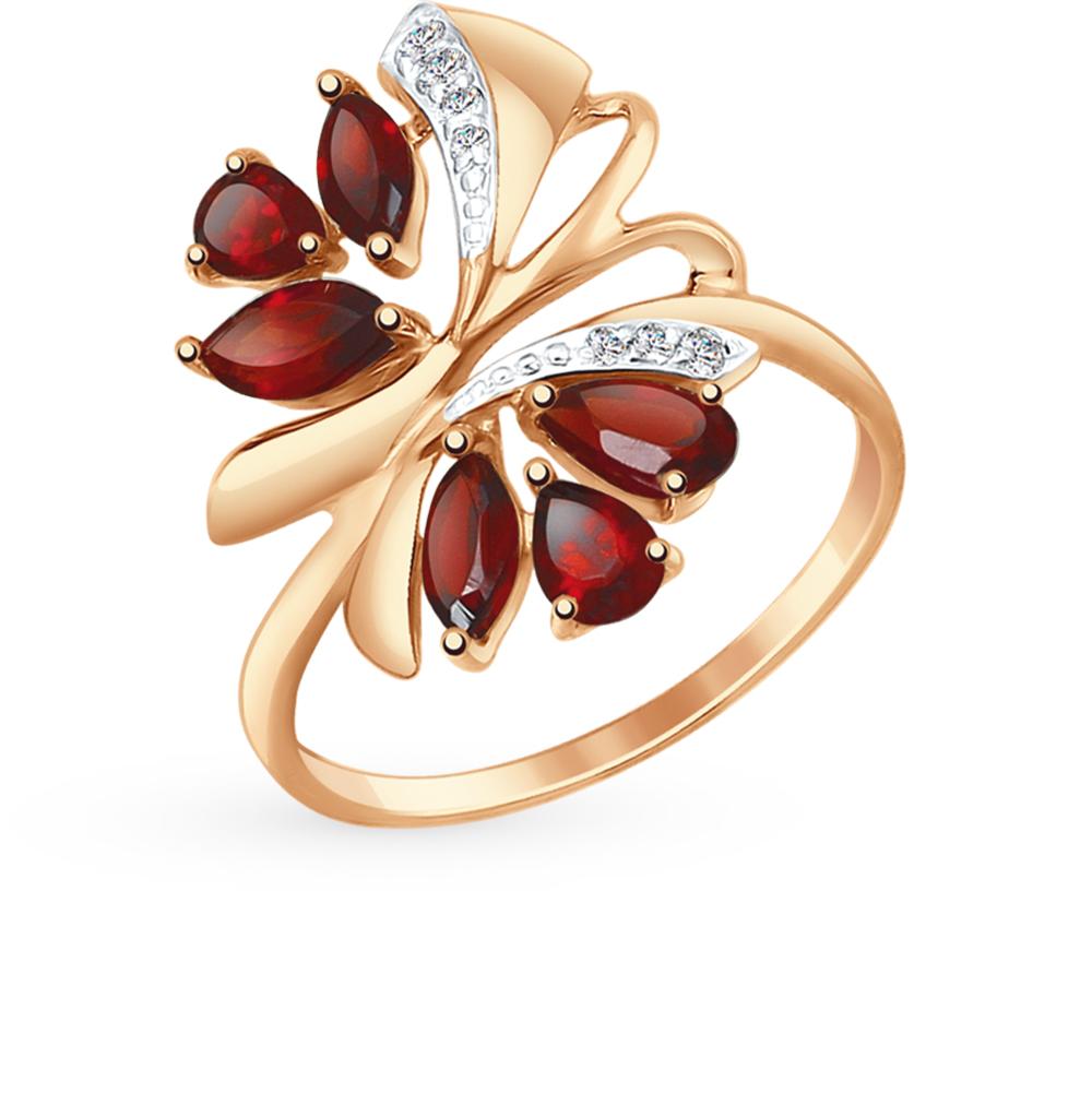 Фото «Золотое кольцо с фианитами и гранатом SOKOLOV 714737*»