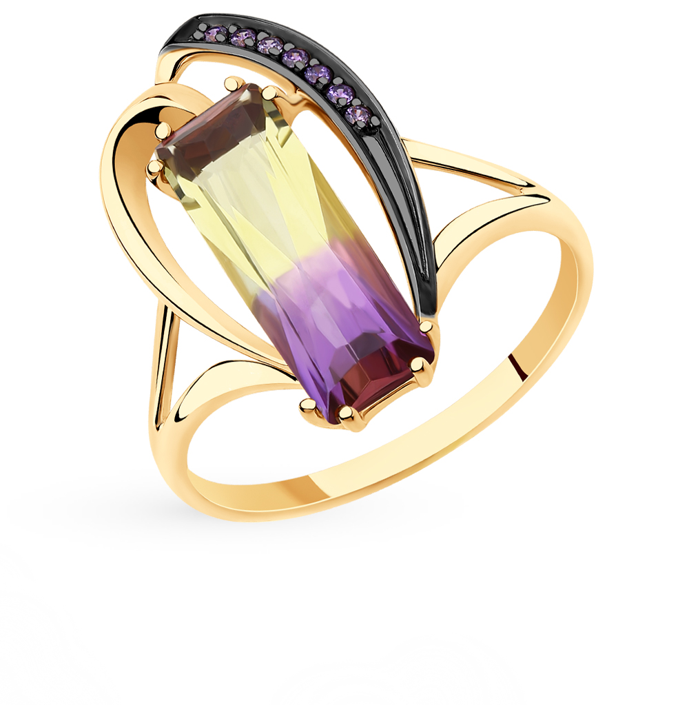 золотое кольцо с фианитами и ситаллами SOKOLOV 715694*