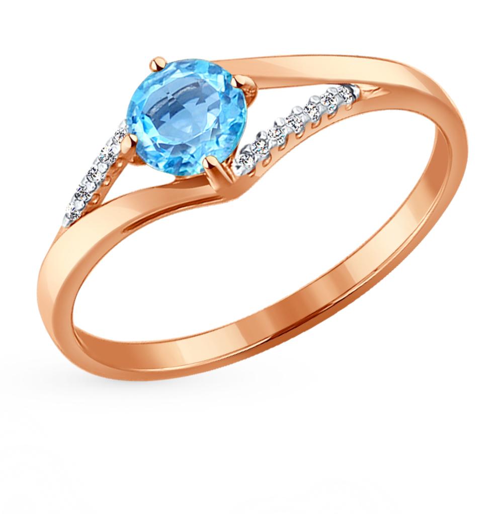 золотое кольцо с топазами и фианитами SOKOLOV 714118*