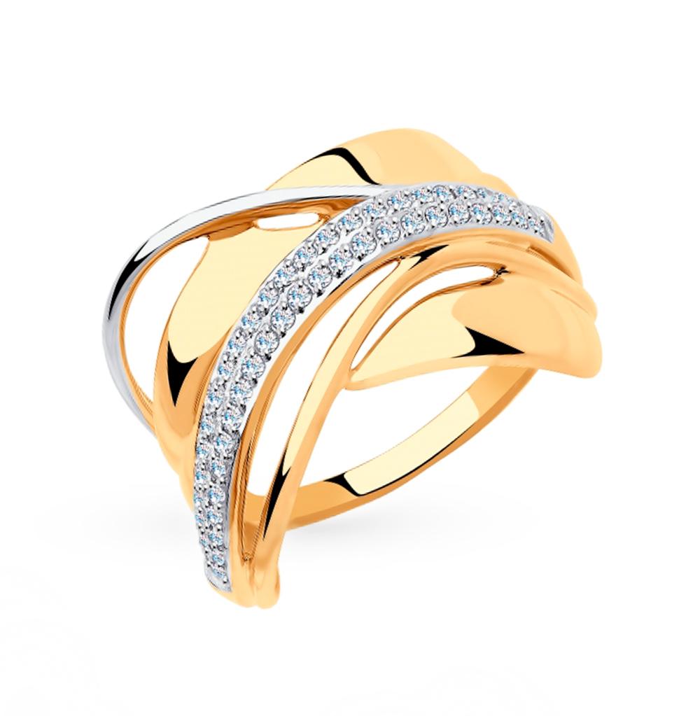 золотое кольцо с фианитами SOKOLOV 018308