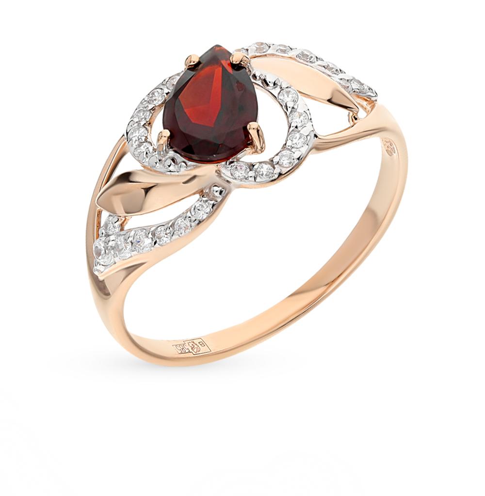 золотое кольцо с фианитами и гранатом SOKOLOV 714459*