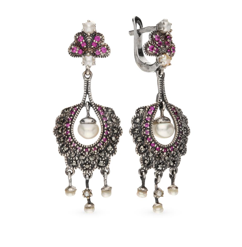 Фото «серебряные серьги с марказитами, рубинами и жемчугом»