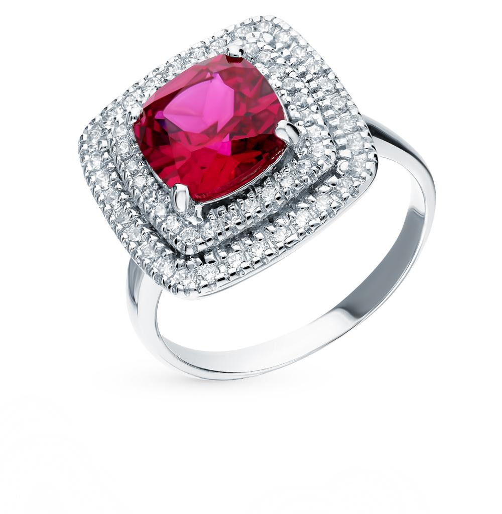 Фото «Серебряное кольцо с рубином и фианитами»