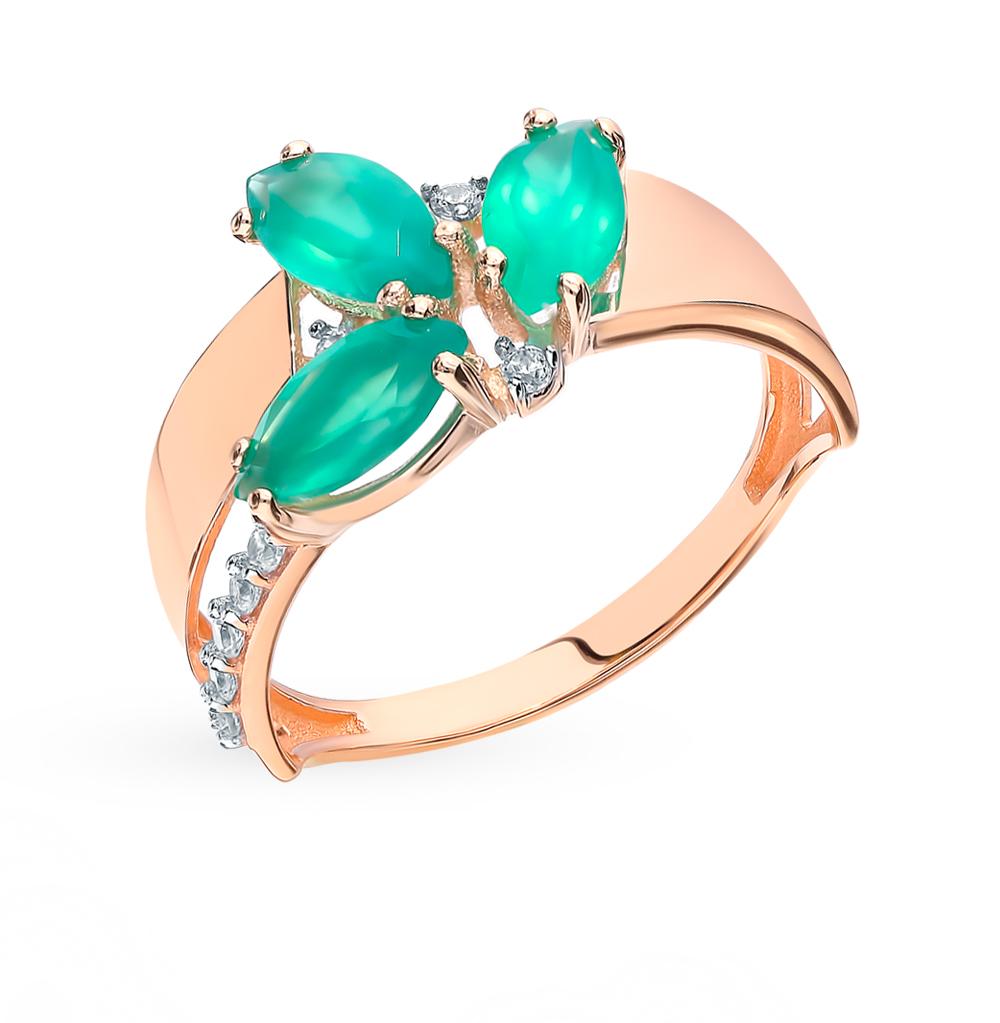 Золотое кольцо с фианитами и агатом в Екатеринбурге
