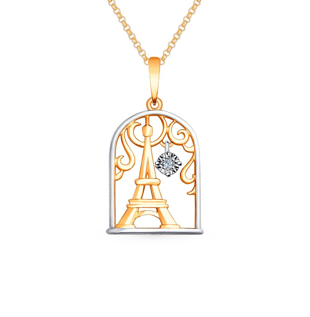 Золотая подвеска с бриллиантом SOKOLOV 1030704