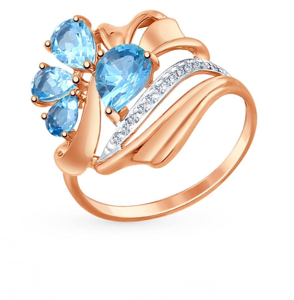 золотое кольцо с топазами и фианитами SOKOLOV 714759*