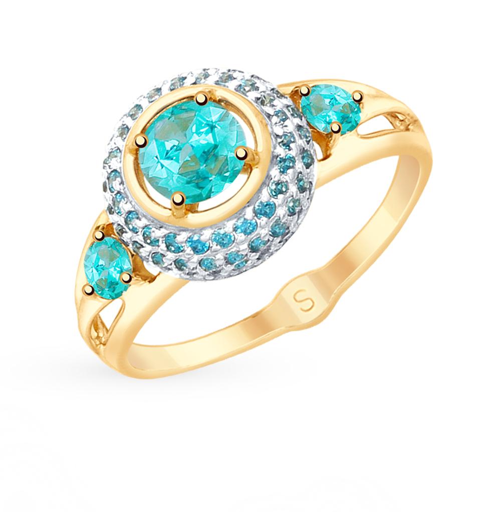 золотое кольцо с топазами и фианитами SOKOLOV 715350*