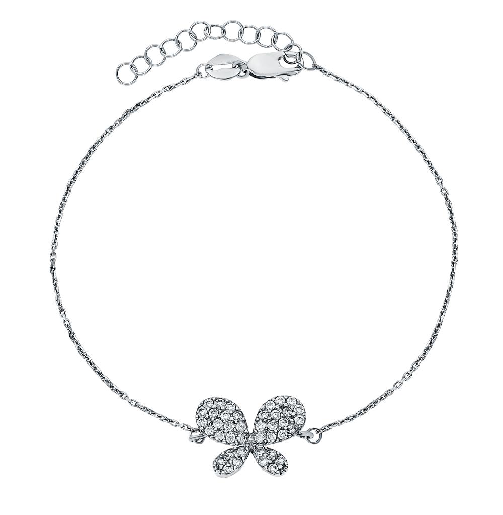 Фото «Серебряный браслет с цирконием и кубическими циркониями»