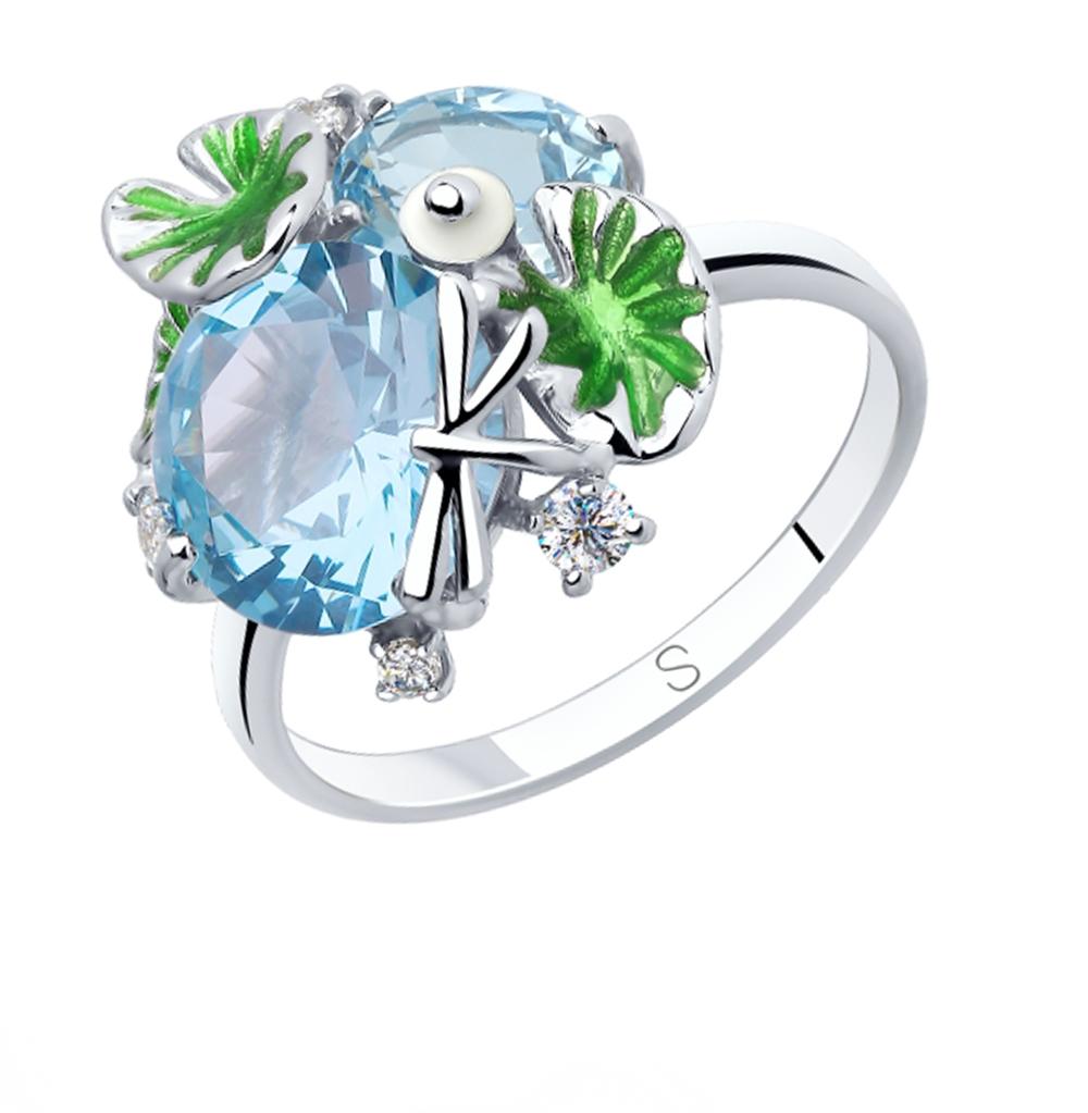 Фото «Серебряное кольцо с фианитами, эмалью и ситаллами SOKOLOV 92011829»