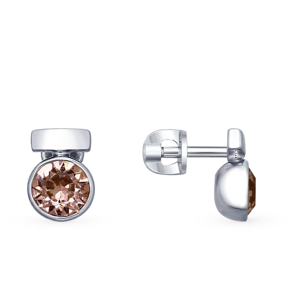 серебряные серьги с кристаллами swarovski SOKOLOV 94022601