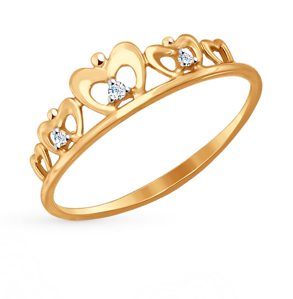 Фото «Золотое кольцо с фианитами SOKOLOV 017148*»