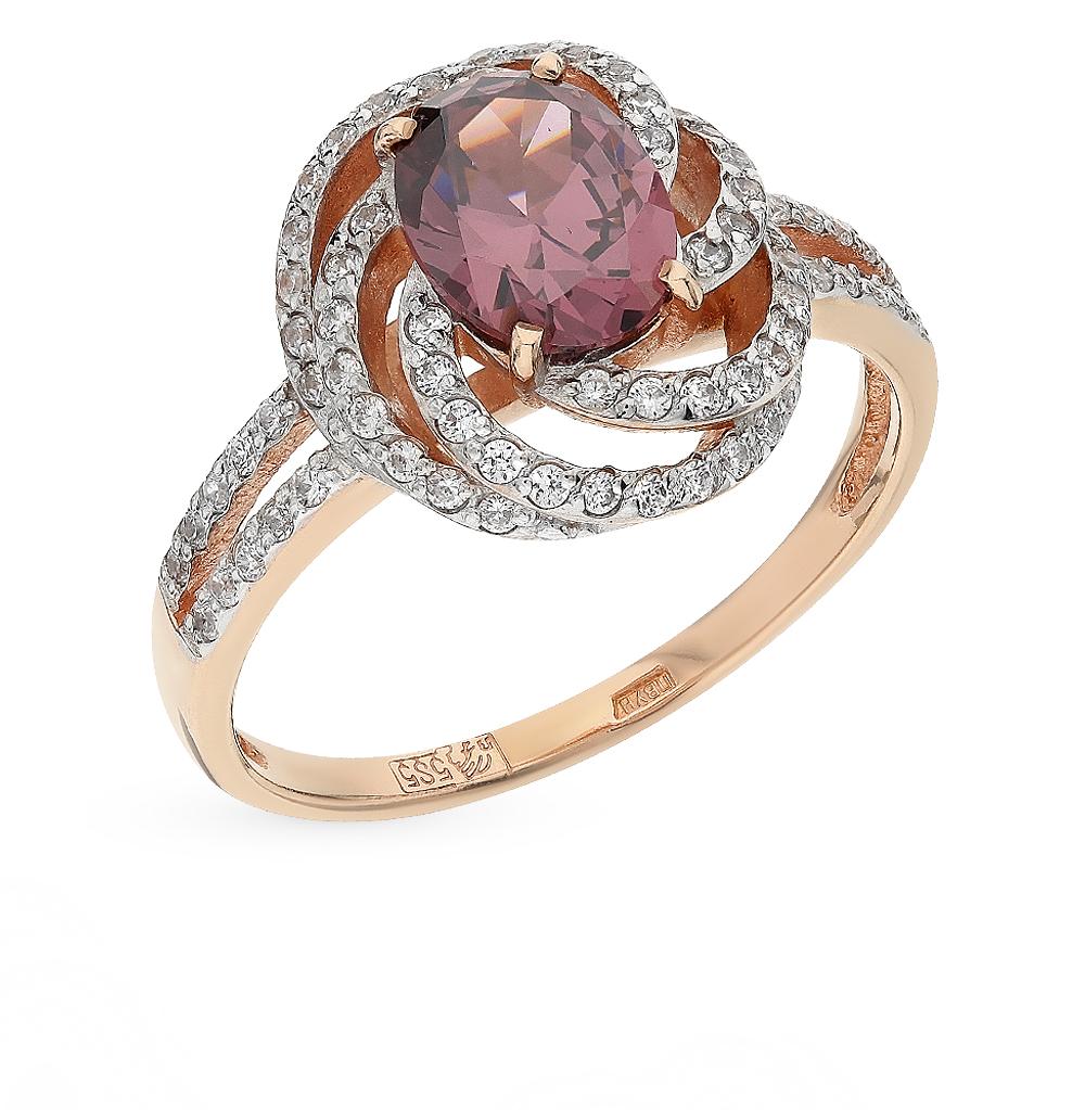 Золотое кольцо с фианитами и ситаллами в Екатеринбурге