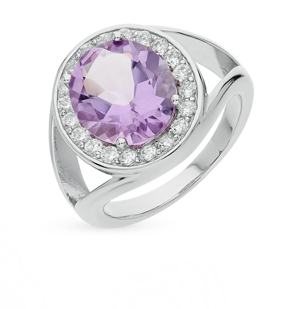Фото «кольцо с аметистом и фианитами»