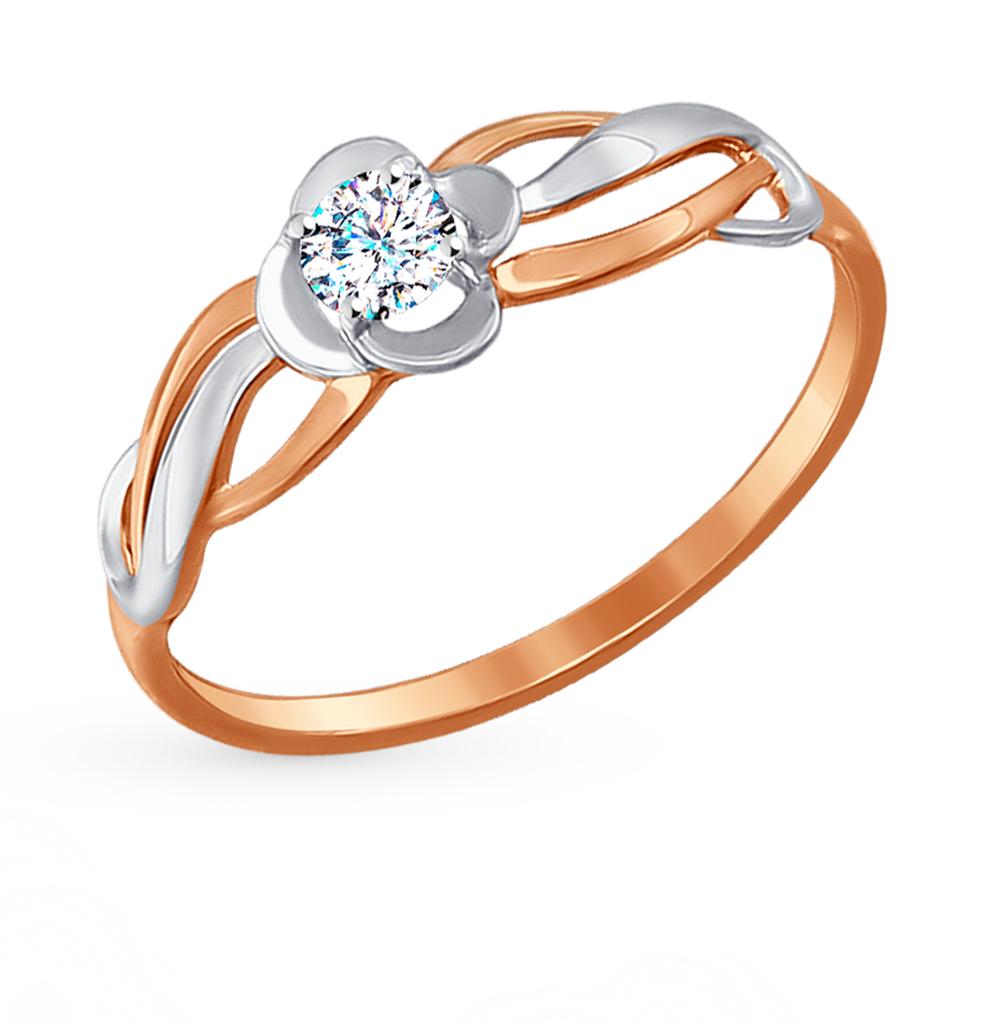 золотое кольцо с фианитами SOKOLOV 017209*