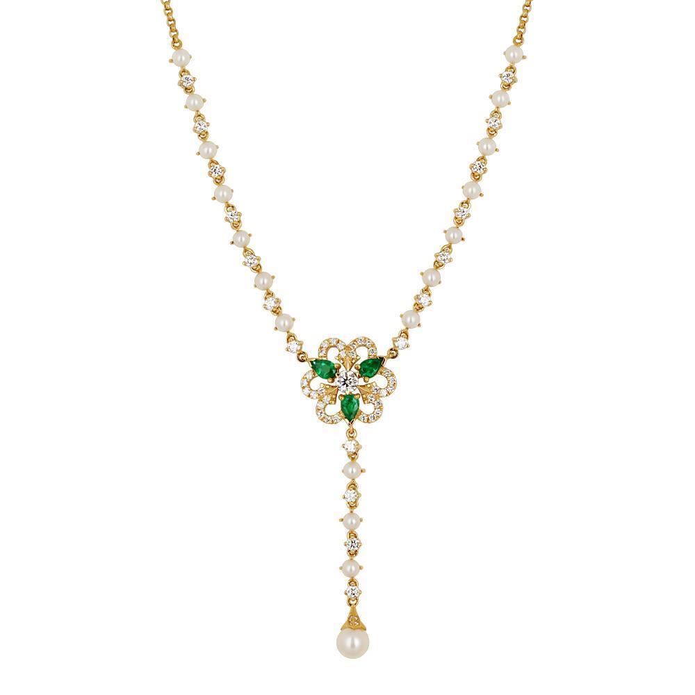 Фото «Золотое колье с жемчугами культивированными и бриллиантами»