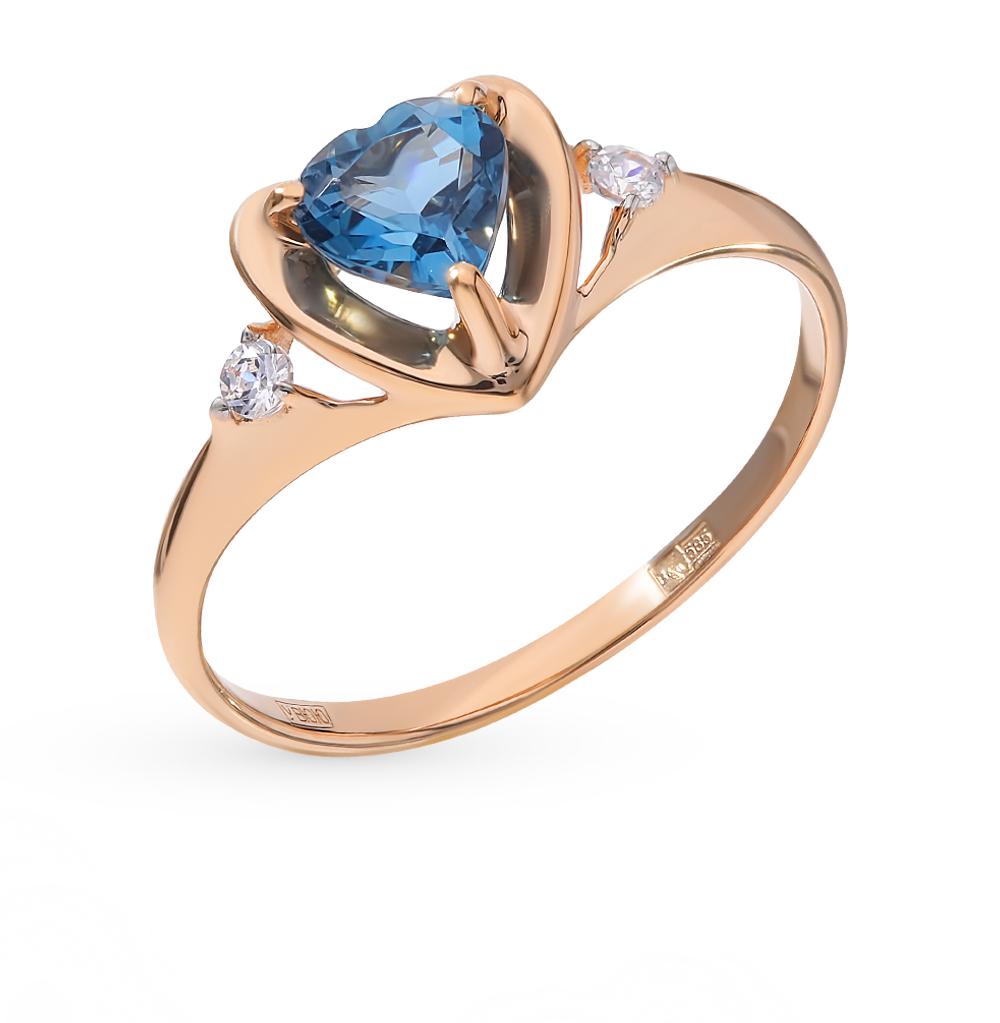 золотое кольцо с топазами и фианитами SOKOLOV 715043*