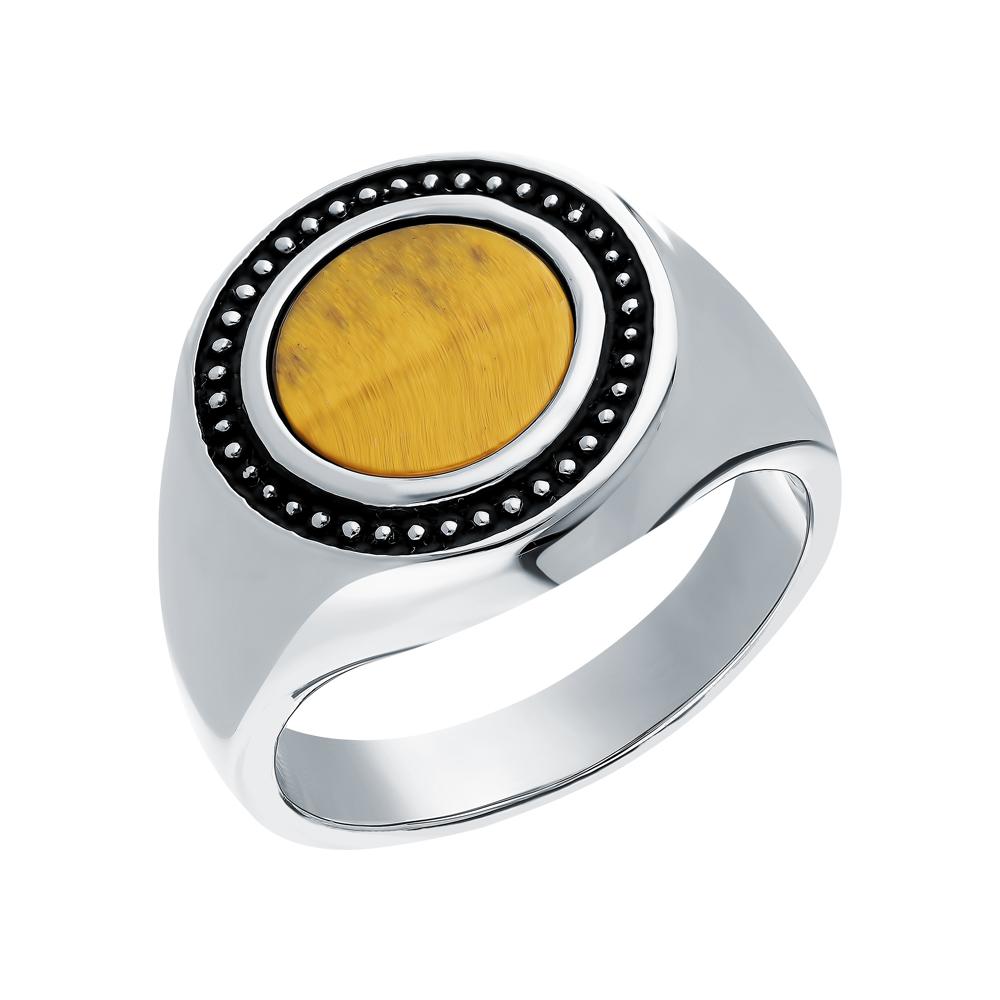 Стальное кольцо с кошачьим глазом Q9092-K0W-01 в Санкт-Петербурге