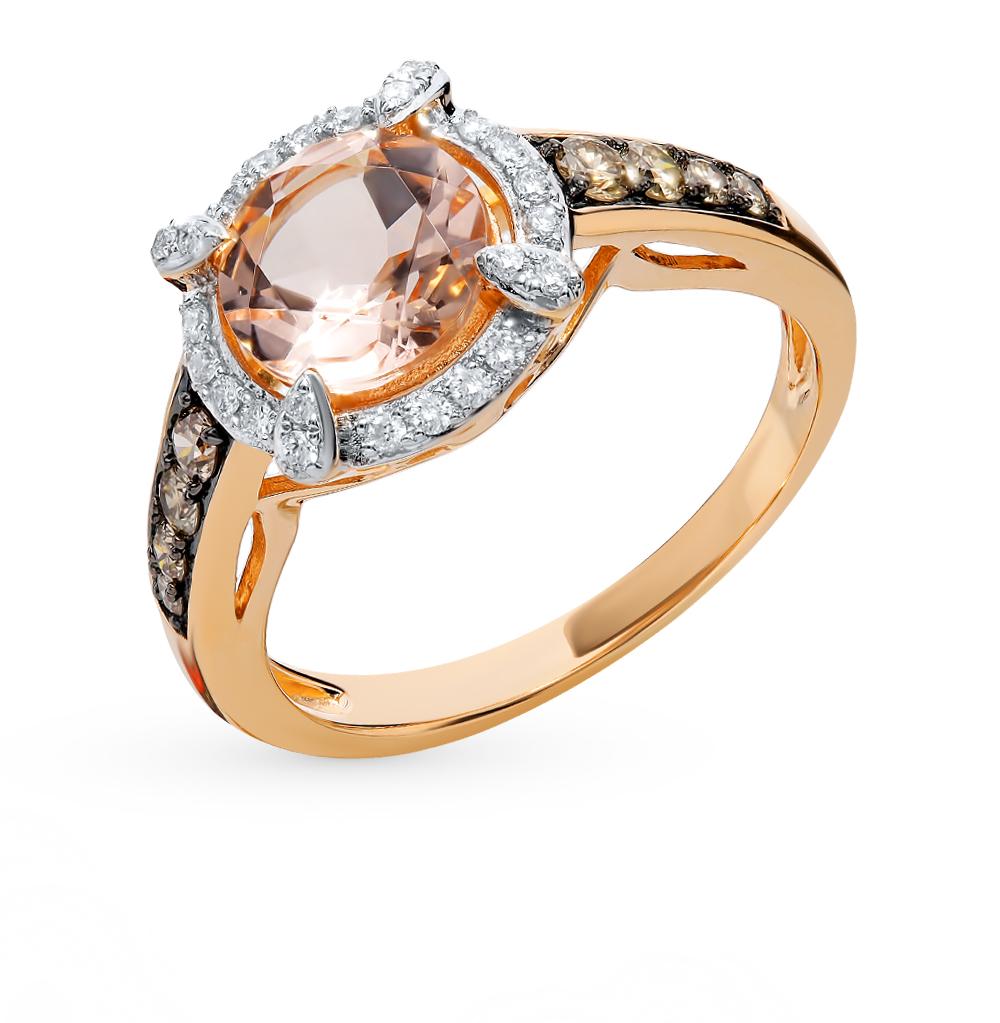 Золотое кольцо с коньячными бриллиантами, морганитом