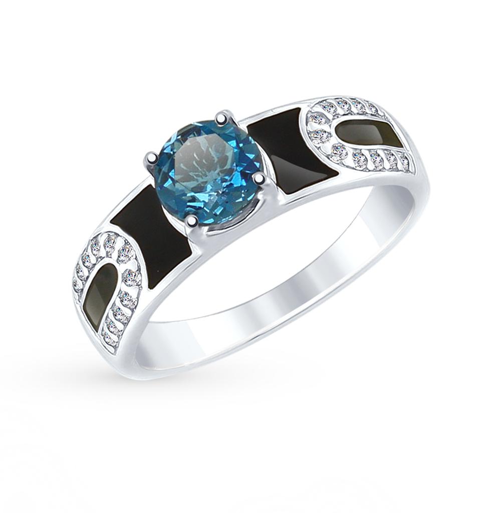 серебряное кольцо с топазами, фианитами и эмалью SOKOLOV 92011488