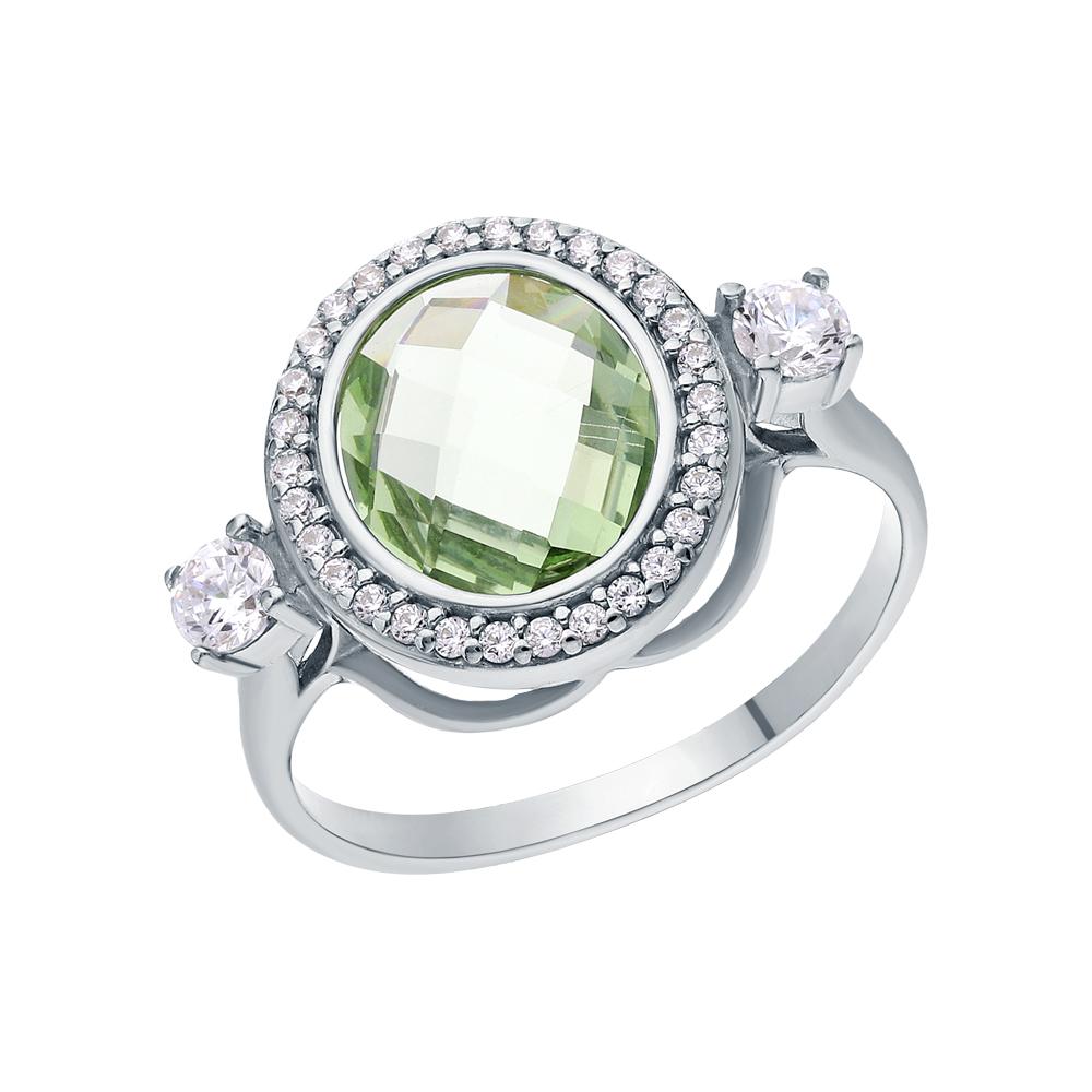 Серебряное кольцо с фианитами и празиолит в Санкт-Петербурге