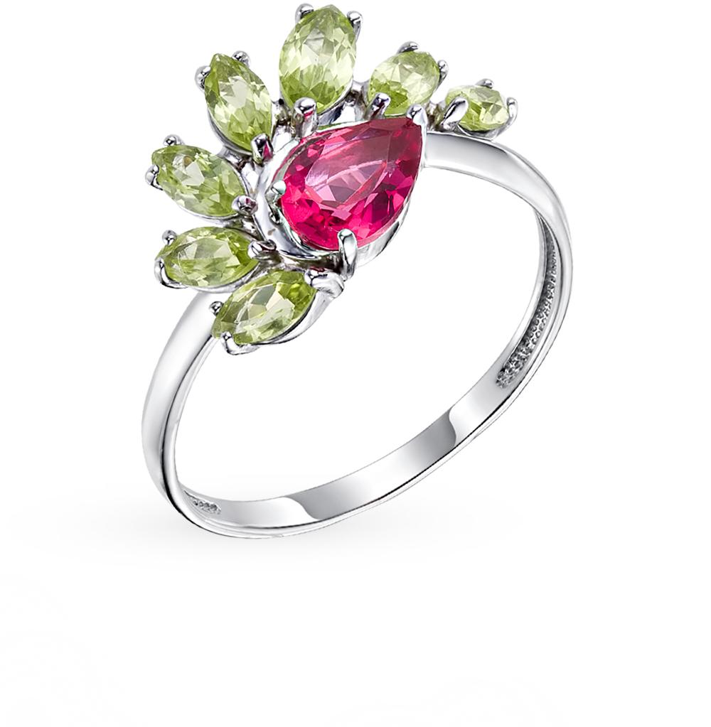 серебряное кольцо с рубеллитами и хризолитом