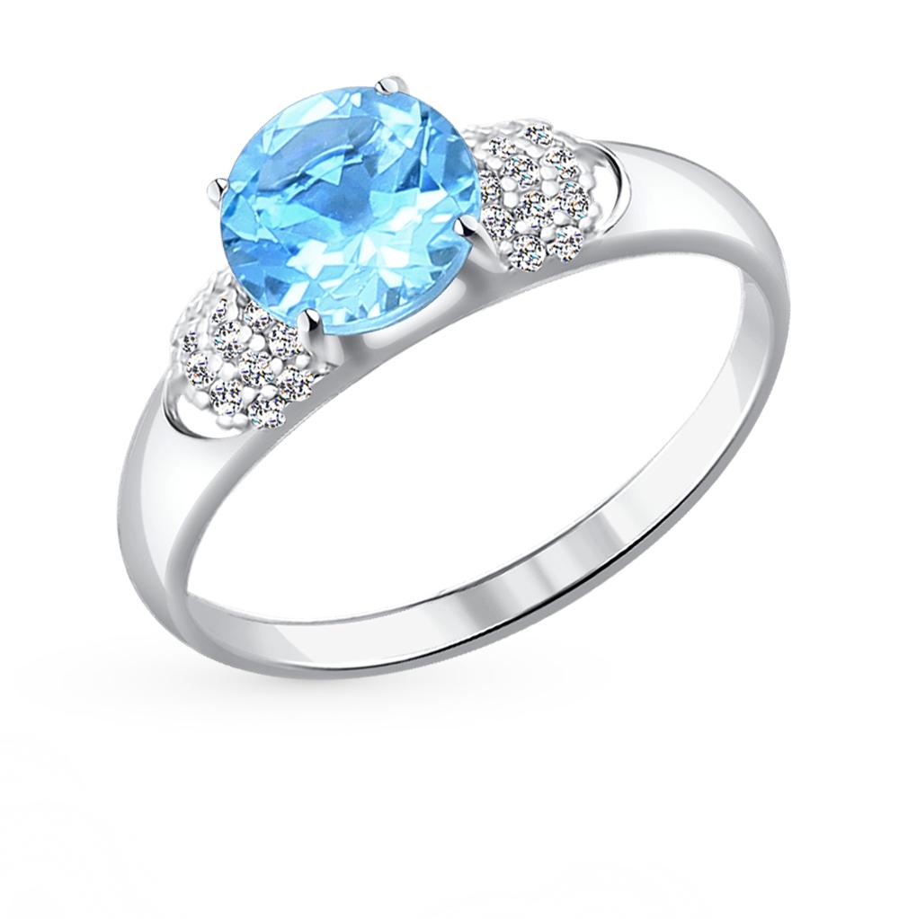 серебряное кольцо с топазами и фианитами SOKOLOV 92011043