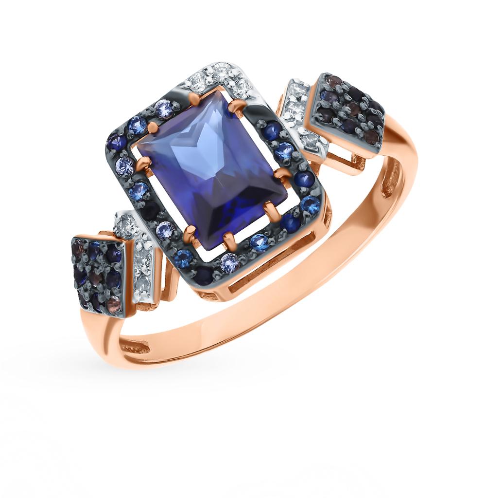 Фото «Золотое кольцо с сапфирами, топазами, фианитами и наношпинелями»